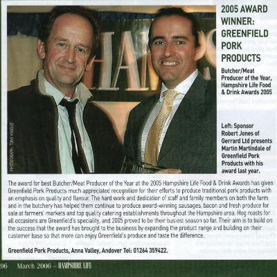 Hampshire Life Food & Drink Award Winner